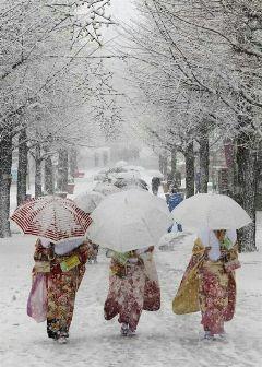 japan winter snow kimono beautiful