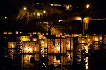 lights lanterns japan water night