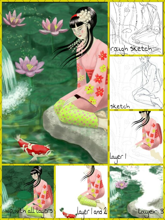geisha drawing steps