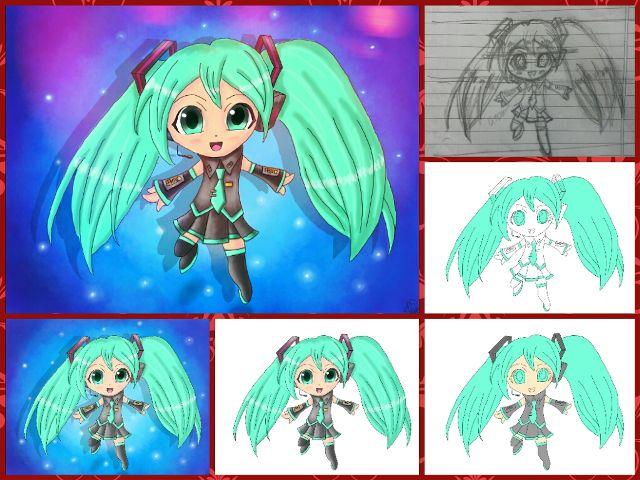 chibi girl drawing steps