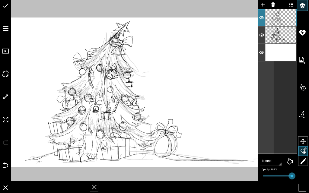 how to draw a Christmas tree with PicsArt