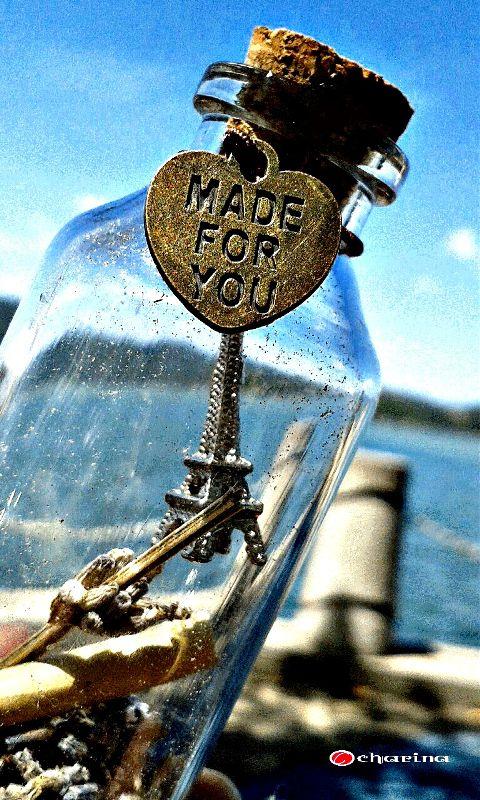 bottle seaside heart love photography