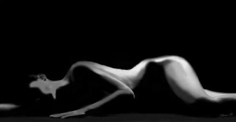 blackandwhite nude woman drawing body